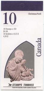 Canada USC #BK187b 1995 Christmas Nativity Pane of Ten Cpl. Bklt.