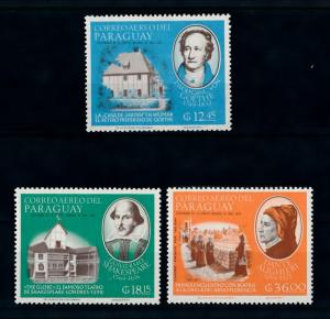 [72396] Paraguay 1966 Novelist Dante Goethe Shakespeare Airmail Stamps MNH