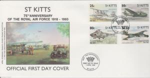 ST KITTS  75th Anniv of Royal Air Force 1993   FDC
