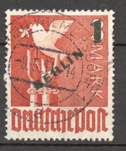 Berlin  1949, Green Overprint 1 Mark, VF++ used, no faults