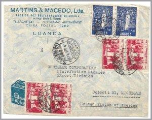ANGOLA (Portugal) 1949 Air Advertising Cvr to USA - 3a FATIMA PAIR (religion)