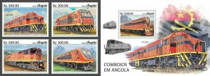 Z08 IMPERF ANG190206ab Angola 2019 Trains MNH ** Postfrisch