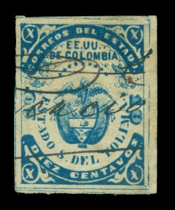 COLOMBIA 1871 TOLIMA - Coat of Arms 10c blue  Scott# 10 used VF