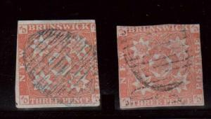 New Brunswick #1 & #1a Used Red & Dark Red Duo