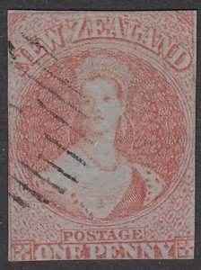 NEW ZEALAND 1855 1d on blued paper SG4 fine used cat £2000...................798