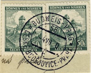 BÖHMEN u. MAHREN - 1940  BUDWEIS - PRAG  TPO n°58b CDS on 2xMi.26