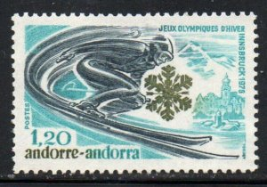 Andorra (Fr) Sc 244 1976 Winter Olympics stamp  mint NH