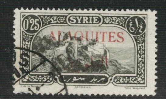 Alaouites Scott 26 Used 1922 red  surcharge slight thin