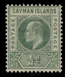 CAYMAN ISLANDS SG8, ½d green, M MINT. Cat £12.