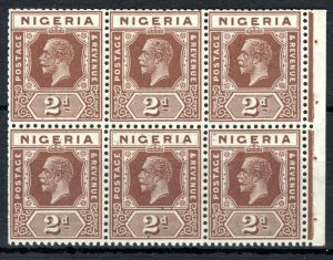 NIGERIA KGV Stamps SG.20var 2d Chocolate (Die II) BOOKLET PANE Mint MNH SS3408