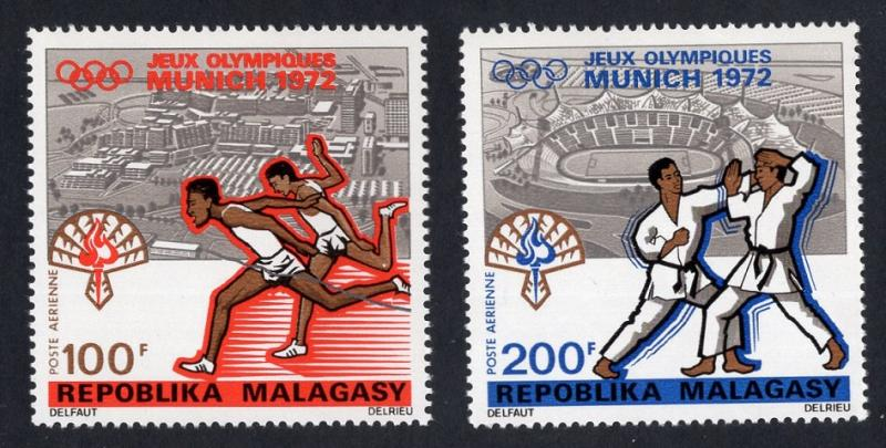 Malagasy Republic   #C106-C107  MNH  1972  Olympic games Munich running   judo