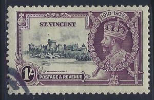 St Vincent, Scott #137; 1sh Silver Jubilee, Used