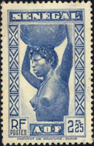 SENEGAL - 1939 - Yv.168 / Mi.178 2fr25 bleu - Oblitéré TB