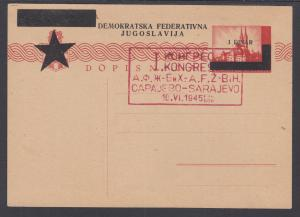 Yugoslavia H&G 103 mint 1945 Postal Card issued in Sarajevo, 1st Congress Cachet