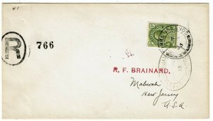 Turks & Caicos Islands 1933 registered cover to the U.S., franked SG 135