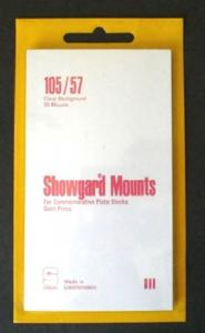 Showgard Stamp Mounts Size 105/57 CLEAR Background Pack of 20