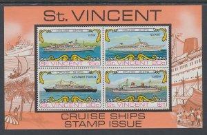 St Vincent 374a Ships Souvenir Sheet MNH VF