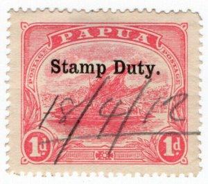 (I.B) Papua Revenue : Stamp Duty 1d (1907)