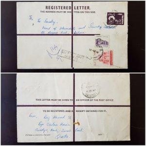 Pakistan Registered Stationery Letter Envelope Rs. 2 1986 Uprated Used