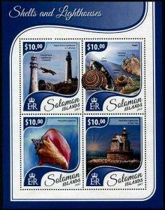 HERRICKSTAMP NEW ISSUES SOLOMON ISLANDS Sc.# 2389 Shells & Lighthouses Sheetlet