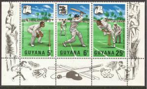 Guyana # 38a Cricket Club  strip/3   Mint NH