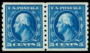 momen: US Stamps #396 Coil Pair MINT OG NH PSE Cert SUPERB