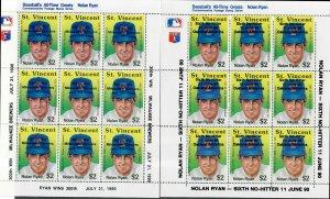 St. Vincent Sc#1336-7 M/NH/XF, S/S Baseball, Cv. $25