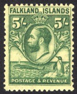 Falkland Is 1929 5s Green on yell Whale & Penguin Scott 62 SG 124 MLH Cat $106