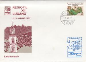 Liechtenstein 1977 Vaduz Cancel Church Illustration Map Stamp Cover Ref 30014