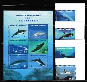 Antigua & Barbuda - WHALES and DOLPHINS - Set +S.S. - MNH - Michel 19 Eur