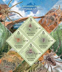 SOLOMON ISLANDS 2013 SHEET HUNTSMAN SPIDERS WILDLIFE slm13404a