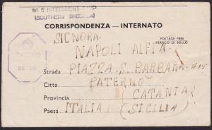 RHODESIA 1944 Italian POW lettersheet  ex NO 5 INTERNMENT CAMP to Sicily..5252