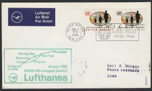 UNITED NATIONS / USA 1966 Lufthansa first flight to Lima - Peru.............H294