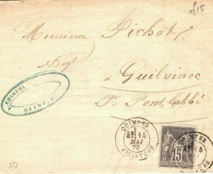 FRANCE Cover *Quimper Finistere* Postmark 15c Rate 1878 {samwells-covers} GP130