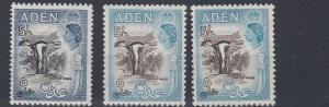 ADEN    1953 - 63    S G  67 + 68 + 68A   3 X  5/-     VALUES     MH & MNH