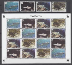 Tonga, Niuafo'ou Sc 271-274a MNH. 2012 World Wildlife Fund for Nature. Sharks
