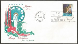 CANADA FDC.1969 CHRISTMAS 5C STAMP.DAY OF ISSUE COVER.CHICKERING,JACKSON CACHET