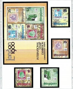 Singapore 349-52a MNH 1980 London Intl Stamp Expo