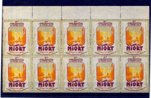 France 1930 Exposition Niort Poster Labels MNH x 10 (NT 3036s