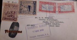 O) 1938 NICARAGUA, MAIL COACH SC 667, STEAMSHIP SC 669 - POSTAL SERVICE, MAP
