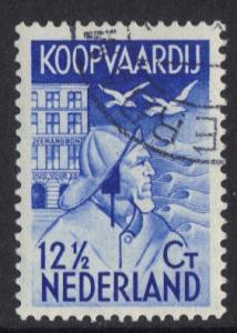 Netherlands  #B65  1933 cancelled Seaman`s fund 12 1/2  ct blue