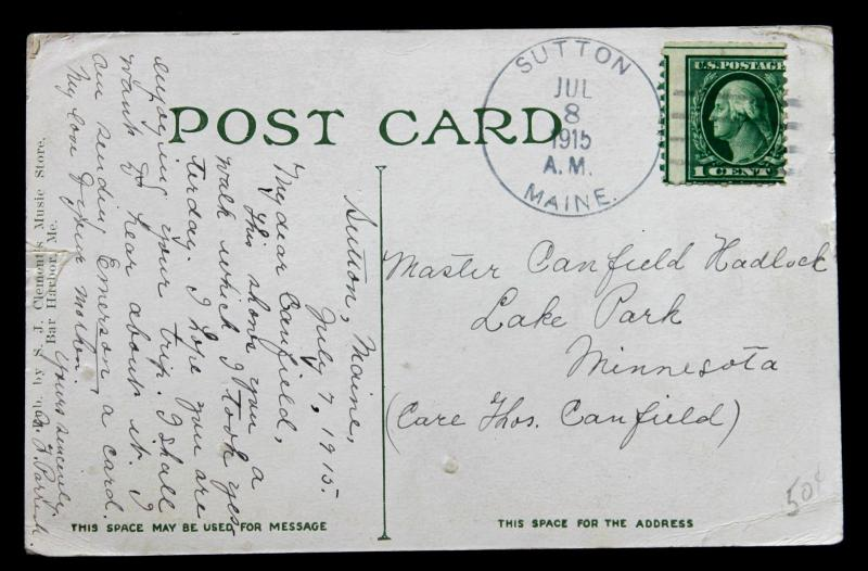 US ERROR/EFO Stamp Sc# 424 Large Misperf. CDS Sutton Maine Jul 8, 1915