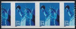 3477 - 34c Huge Misperf Diecut Shift Error/EFO Strip 3 Statue of Liberty MNH