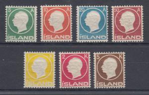 Iceland Sc 92-98 MNH. 1912 King Frederik VIII, embossed set cplt
