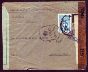 Judaica Jewish Double Censor Cover Istanbul Turkey - ALFRED MAYER