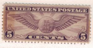 United States (U.S.) Stamp Scott #C-12, Mint Gum Break, 1930 Winged Globe - F...