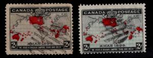 Canada Scott 85-86 Used Christmas 1898 Map Stamp CV $18