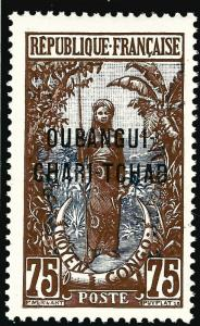 French Ubangi-Shari (Sc #19) VF Mint OG hr...Difficult to find!