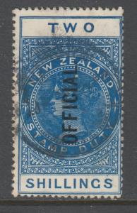New Zealand Sc O38v, SG O85 used. 1915 2sh deep blue QV Official, sound