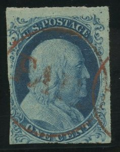 7 Var, PLATE 3 TOP ROW COPY RED PAID IN CIRCLE CANCEL BV3537